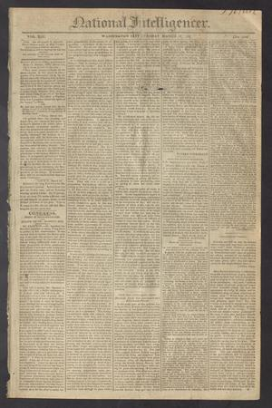 Primary view of object titled 'National Intelligencer. (Washington City [D.C.]), Vol. 13, No. 1949, Ed. 1 Tuesday, March 16, 1813'.