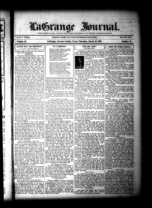 Primary view of La Grange Journal. (La Grange, Tex.), Vol. 36, No. 12, Ed. 1 Thursday, March 25, 1915