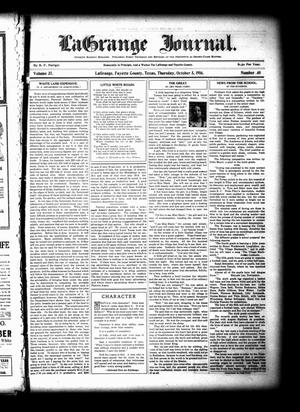 Primary view of object titled 'La Grange Journal. (La Grange, Tex.), Vol. 37, No. 40, Ed. 1 Thursday, October 5, 1916'.