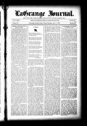 Primary view of object titled 'La Grange Journal. (La Grange, Tex.), Vol. 39, No. 28, Ed. 1 Thursday, July 11, 1918'.