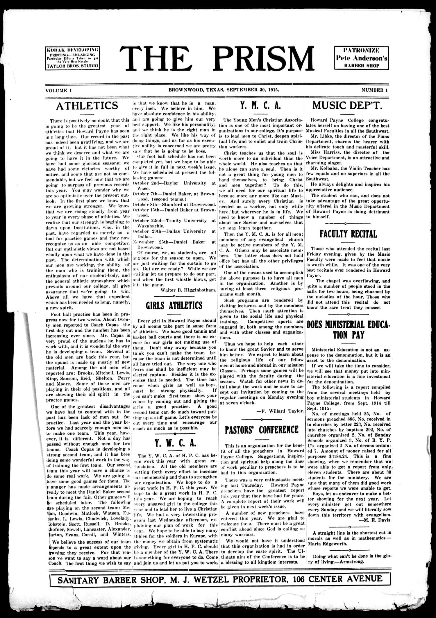 The Prism (Brownwood, Tex.), Vol. 1, No. 1, Ed. 1, Thursday, September 30, 1915                                                                                                      [Sequence #]: 1 of 3