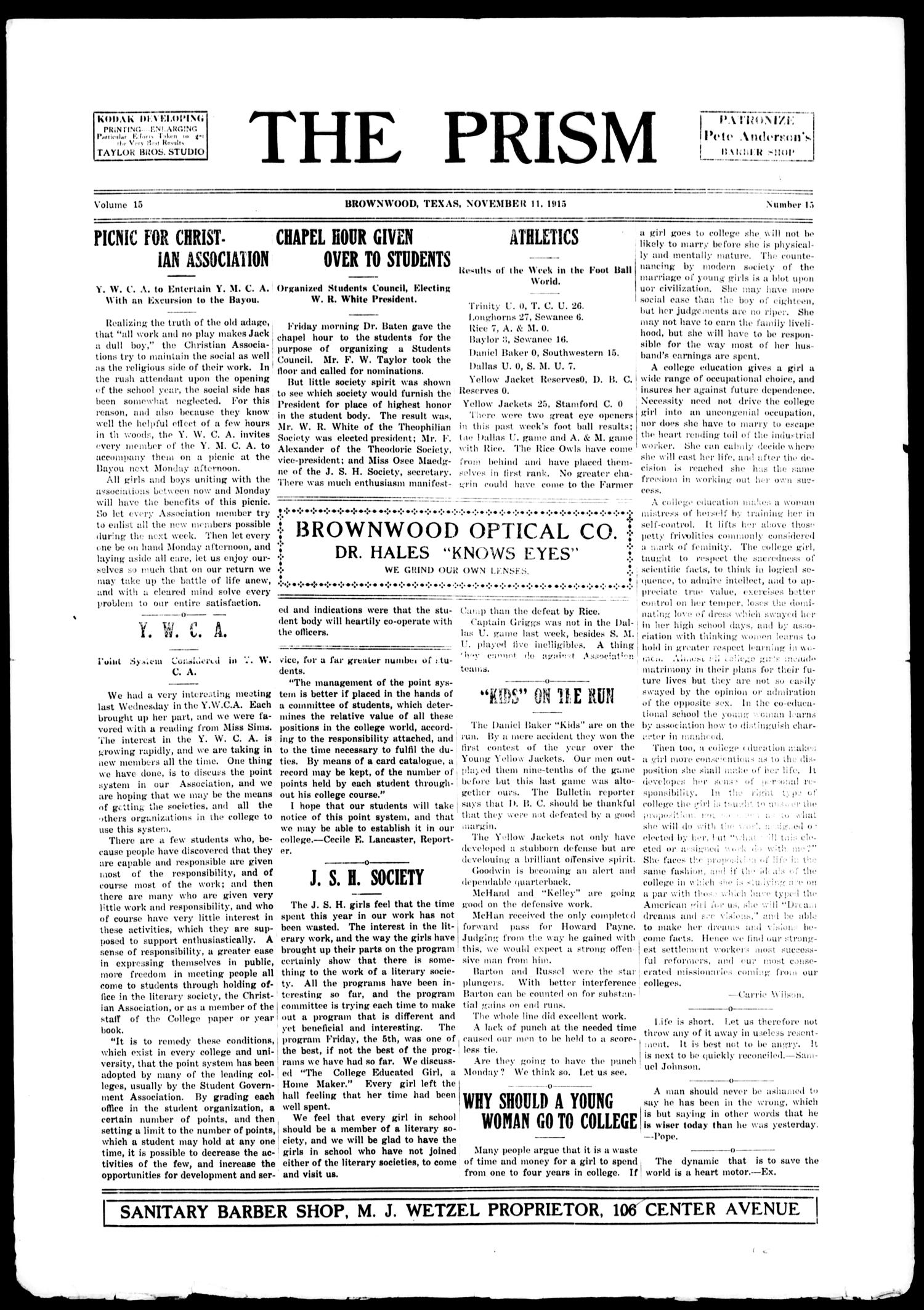 The Prism (Brownwood, Tex.), Vol. 15, No. 15, Ed. 1, Thursday, November 11, 1915                                                                                                      [Sequence #]: 1 of 4