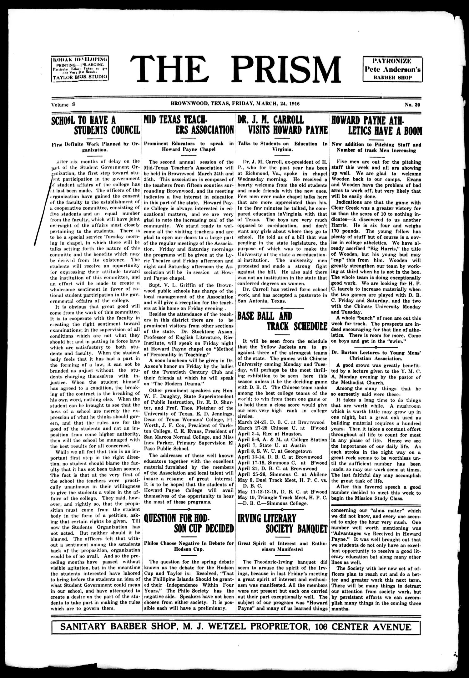 The Prism (Brownwood, Tex.), Vol. 15, No. 30, Ed. 1, Friday, March 24, 1916                                                                                                      [Sequence #]: 1 of 4