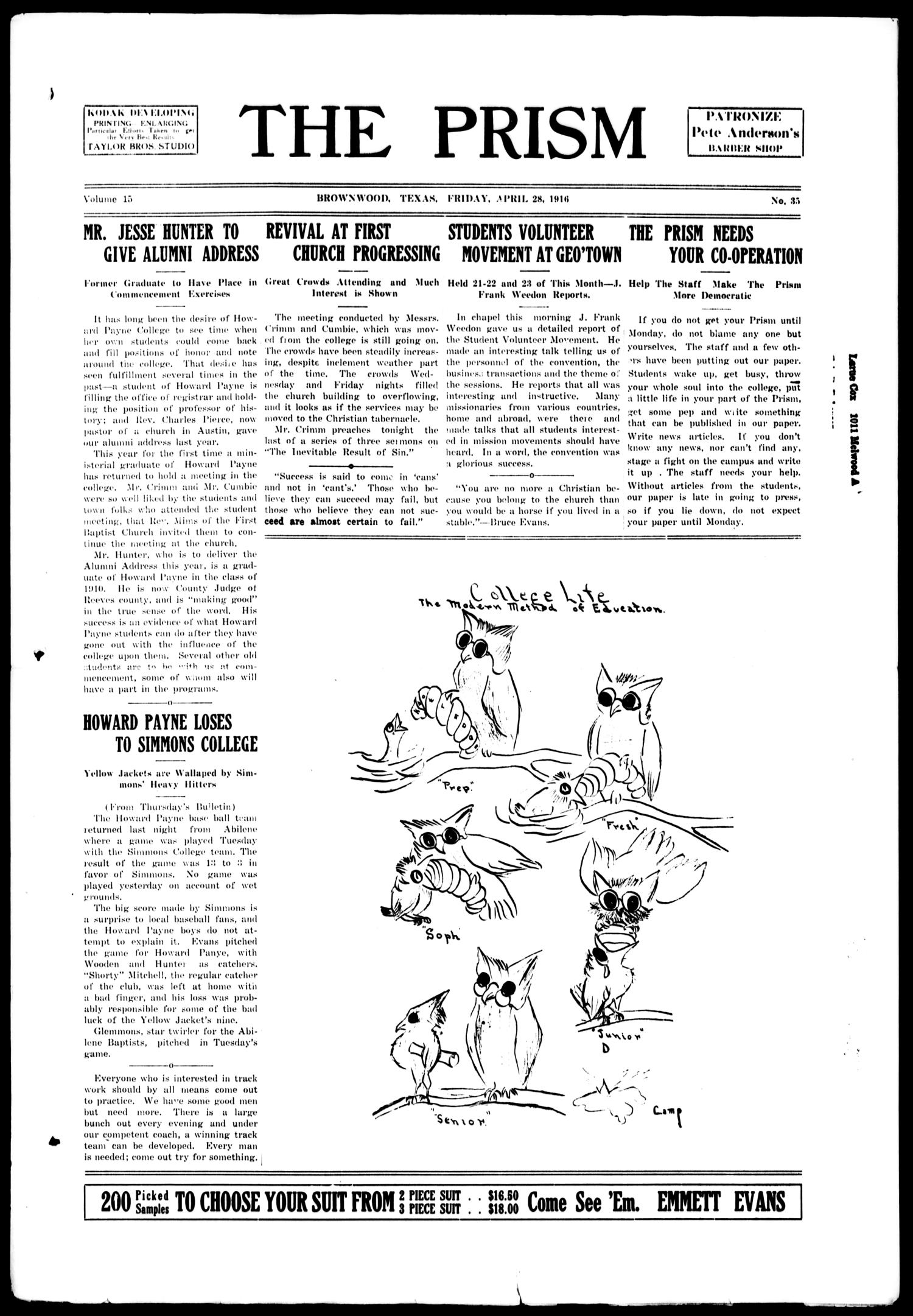 The Prism (Brownwood, Tex.), Vol. 15, No. 35, Ed. 1, Friday, April 28, 1916                                                                                                      [Sequence #]: 1 of 4