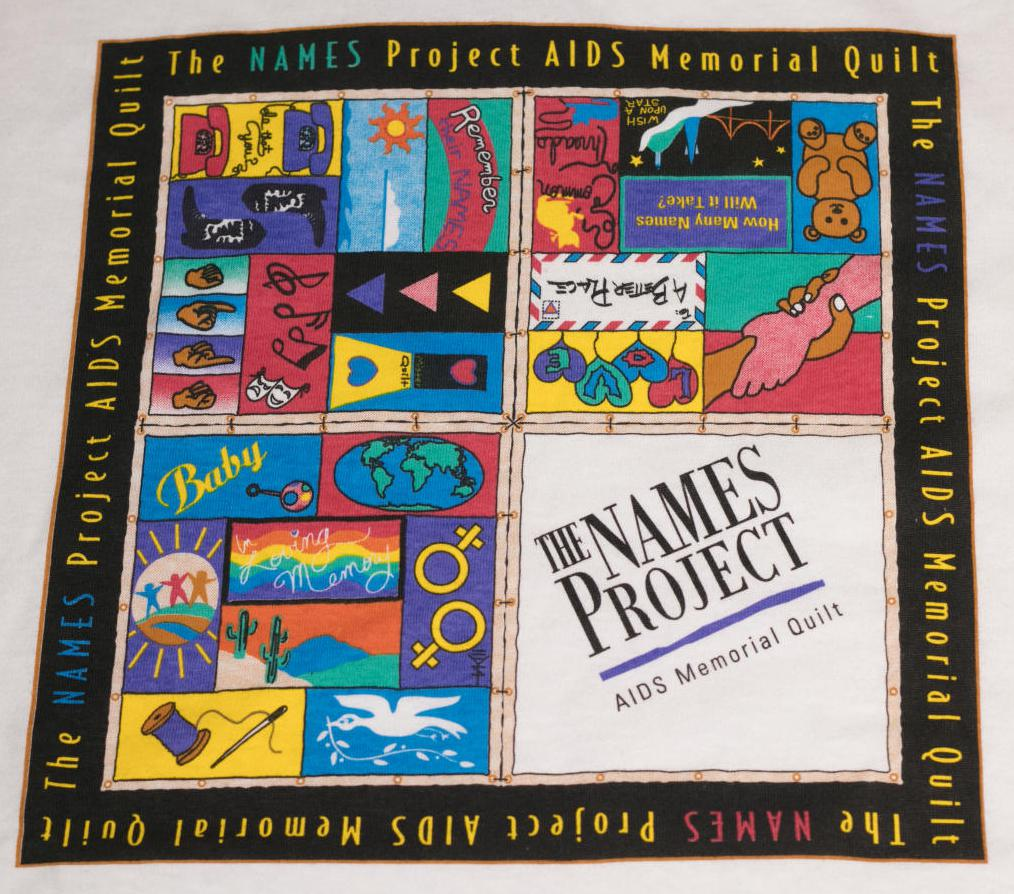 Closeup of a quilt design. It is framed by a black line that says the NAMES Project, in the middle are 4 different sections of text. The one on the bottom right is white and says The Names Project.