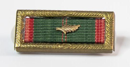 A green ribbon that is red on the left and right side. The ribbon is inside a bronze frame. In the middle of the ribbon is a bronze leaf.