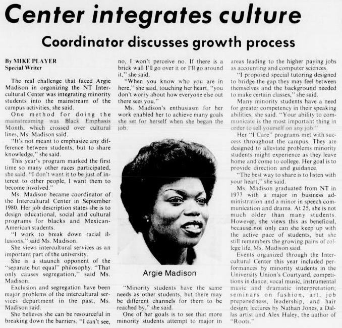 A news article with the title at the top, the subtitle under it says Coordinator Discusses Growth Process. The article consists of three columns of text. In the middle column is a photo of an African american woman, the photo title Argie Madison.