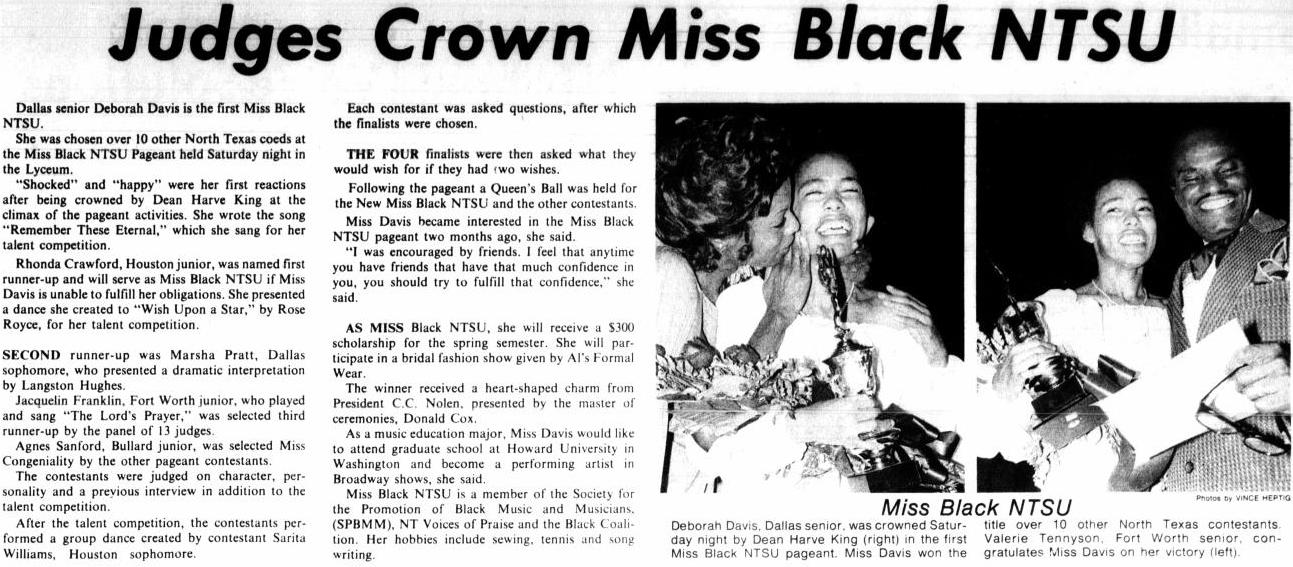 Newspaper article with the title at the top. Under it in the left half are two columns of text. On the right are two photos side by side of an African American women. In one she has a woman smiling with her, and in the other is a man standing next to her.