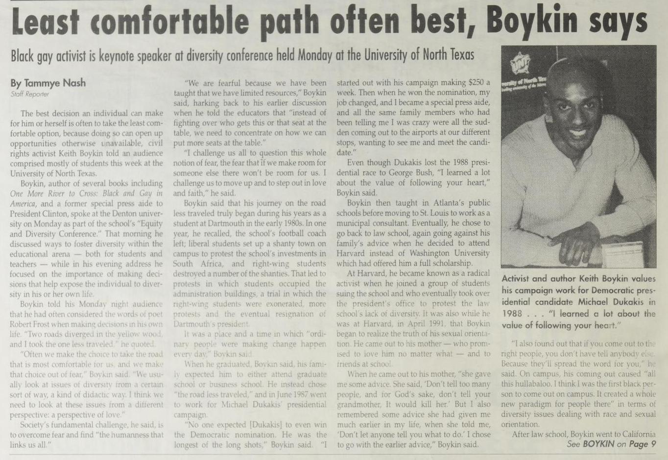 News article followed by four columns of text. The furthest column on the right consists mostly of a photo of an African American man.