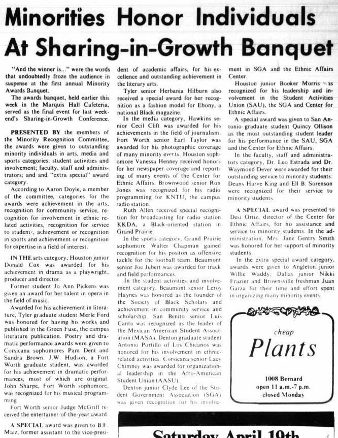 News article with the title at the top in bold, followed by three columns of text. In the bottom right is a box with the word Plants inside it.