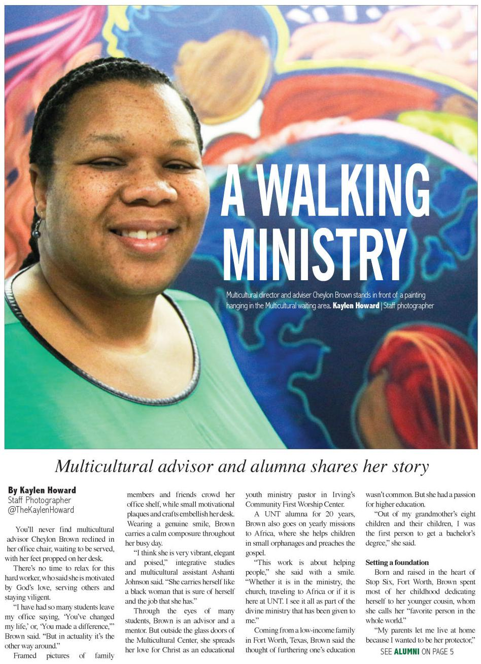 A newspaper page. At the top, covering most of it, is a picture of a woman smiling in front of a colorful painted background. Over it is the text A Walking Ministry. Under the picture is the title of the article, followed by four columns of text.