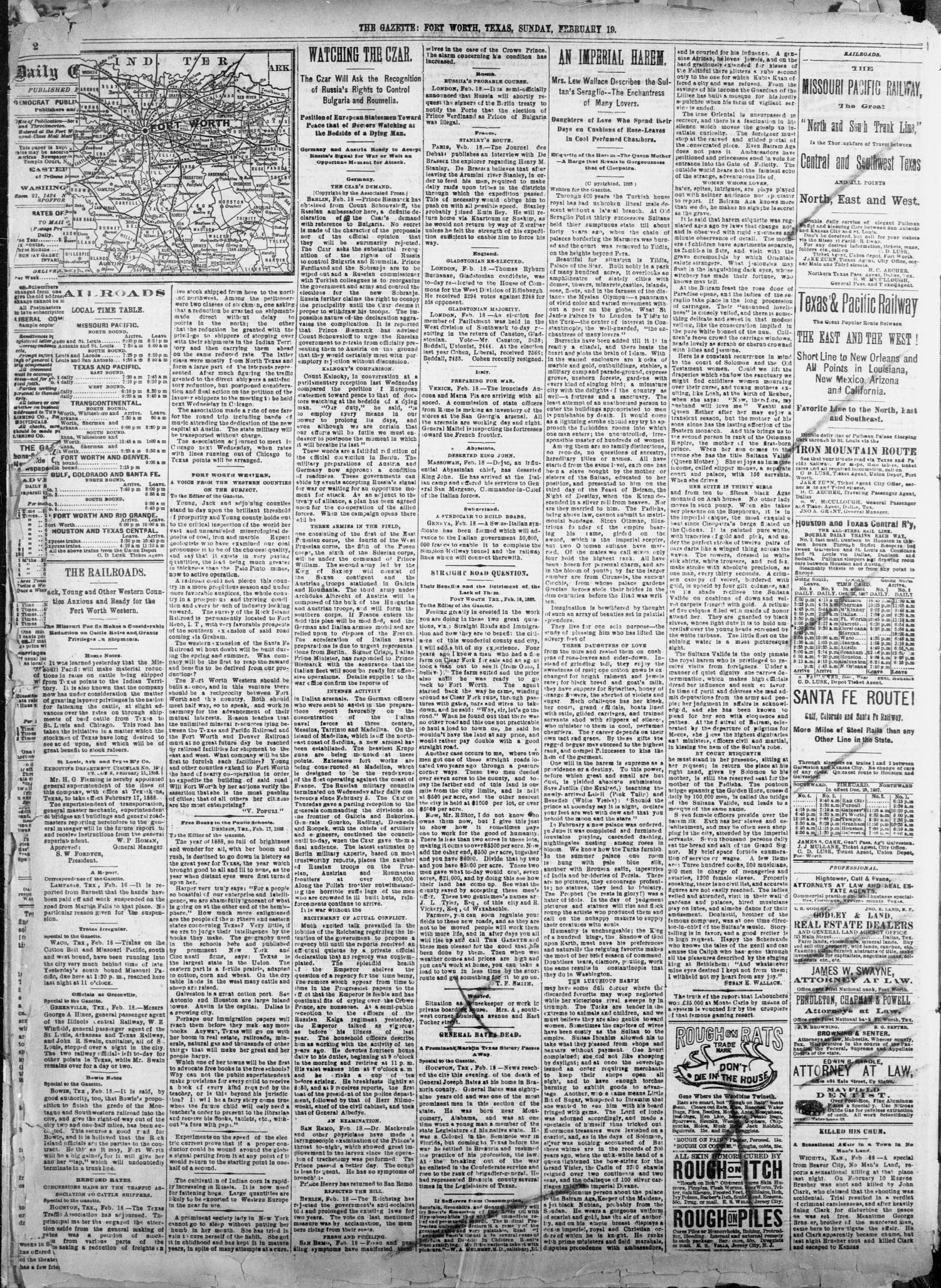 Fort Worth Daily Gazette Fort Worth Tex Vol 13 No 201 Ed